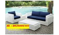 Sofa ngoài trời, bàn ghế mây để sân vườn, thiết bị cho resort giá rẻ