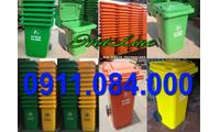 Thùng rác 120 lít, 240 lít nhựa hdpe màu cam xanh