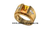 Nhẫn nam đơn giản đá Citrine vàng