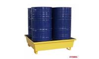 Pallet thép chống tràn dầu, hóa chất cho 4 thùng phi