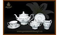 Bộ trà 1.3L Đài các trang trí bạch kim 01134626603 gốm sứ Minh Long I