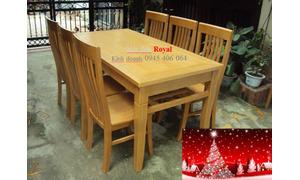 Sắm tết tại nội thất Royal, bộ bàn ăn gỗ tự nhiên